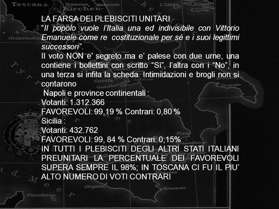 LA FARSA DEI PLEBISCITI UNITARI Il popolo vuole lItalia una ed indivisibile con Vittorio Emanuele come re costituzionale per sé e i suoi legittimi suc
