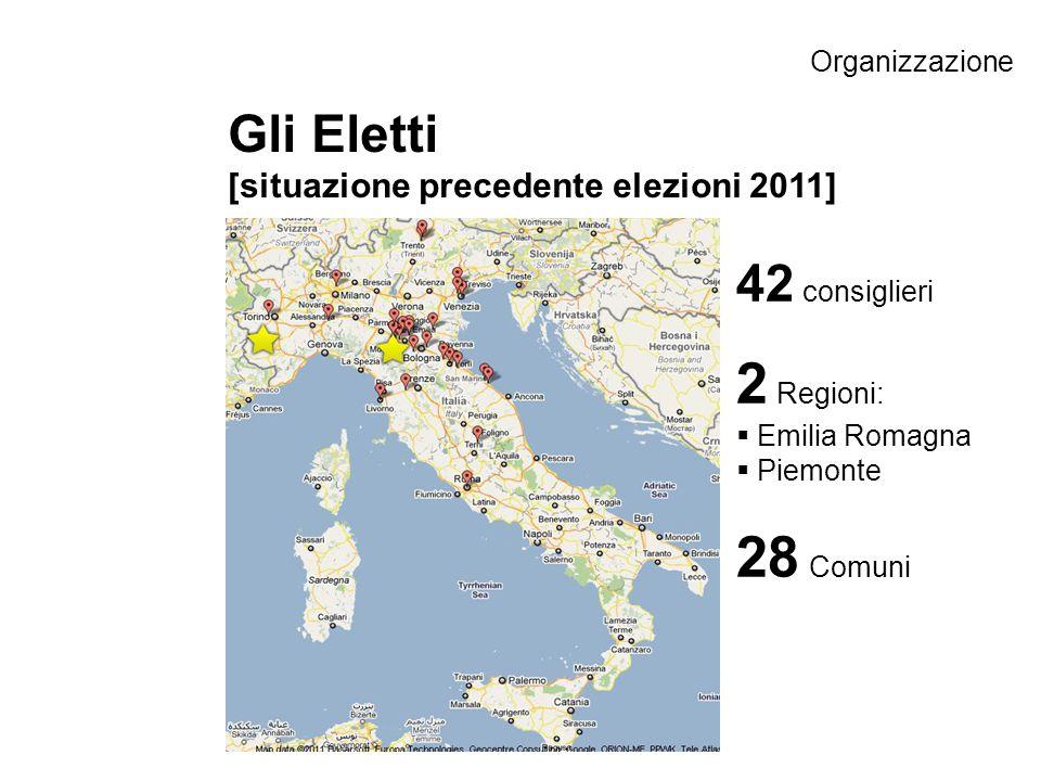 Gli Eletti [situazione precedente elezioni 2011] 42 consiglieri 2 Regioni: Emilia Romagna Piemonte 28 Comuni