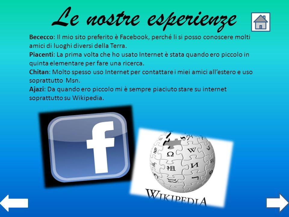 Le nostre esperienze Bececco: Il mio sito preferito è Facebook, perché li si posso conoscere molti amici di luoghi diversi della Terra. Piacenti: La p