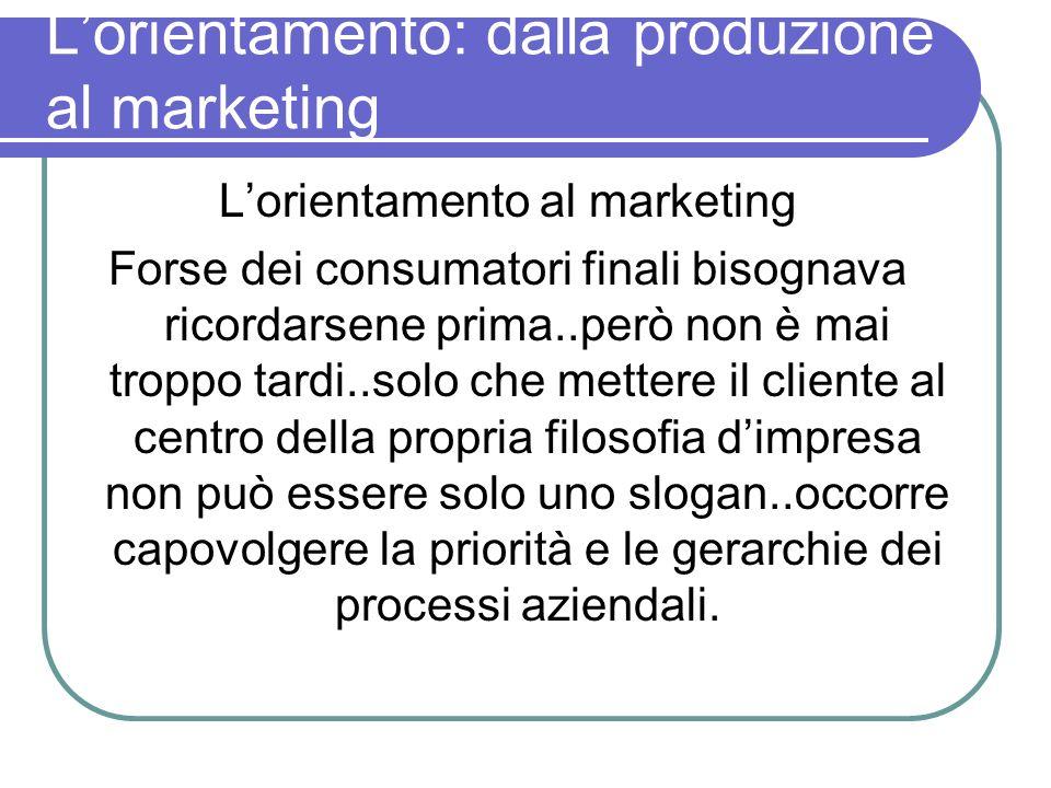 Lorientamento: dalla produzione al marketing Lorientamento al marketing Forse dei consumatori finali bisognava ricordarsene prima..però non è mai trop