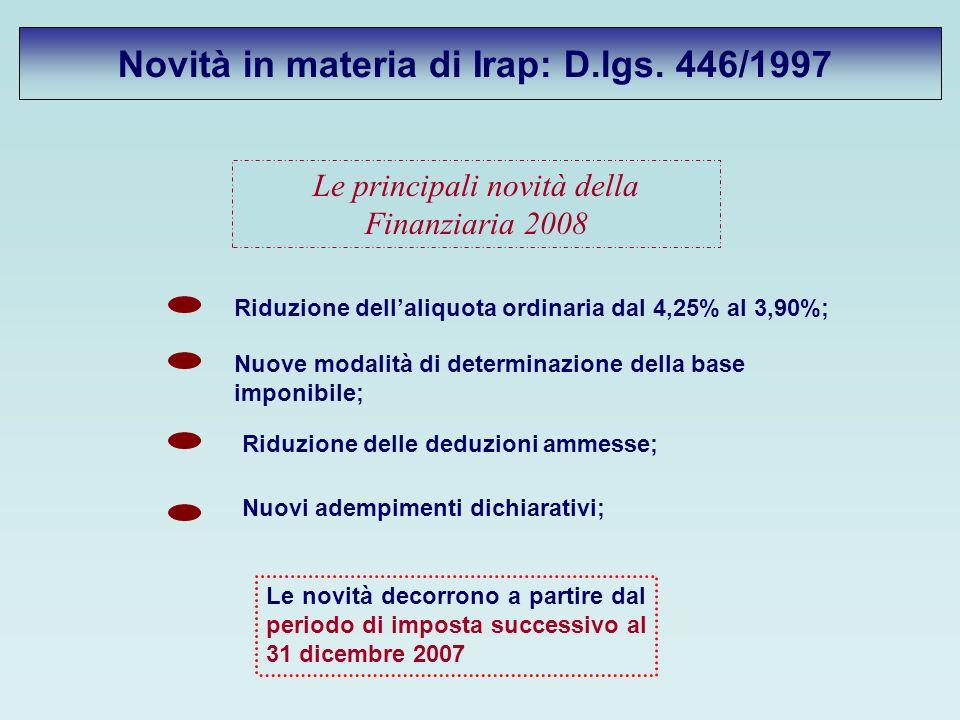 Novità in materia di Irap: D.lgs.