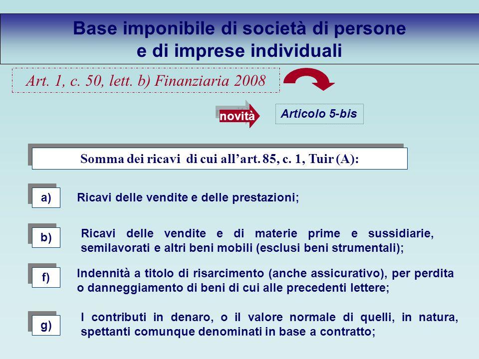 Base imponibile di società di persone e di imprese individuali Articolo 5-bis novità Somma dei ricavi di cui allart.