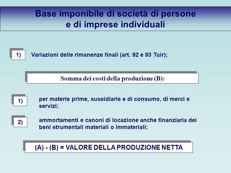 Base imponibile di società di persone e di imprese individuali Variazioni delle rimanenze finali (art.