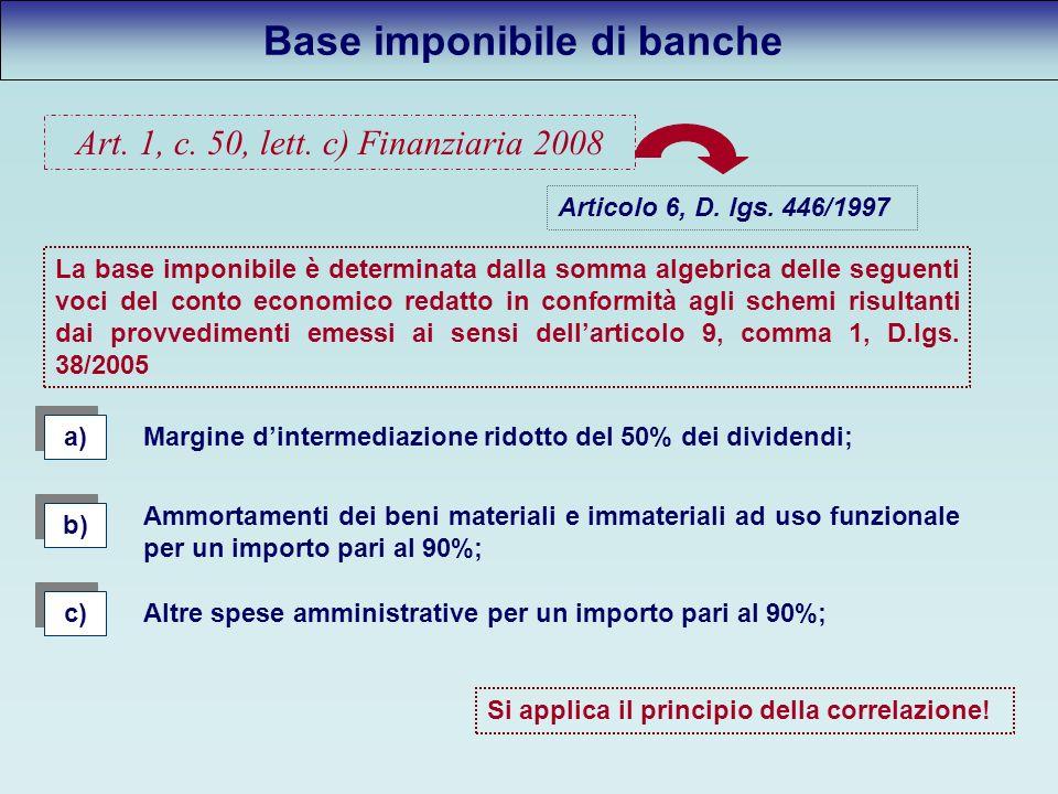 Base imponibile di banche a) La base imponibile è determinata dalla somma algebrica delle seguenti voci del conto economico redatto in conformità agli schemi risultanti dai provvedimenti emessi ai sensi dellarticolo 9, comma 1, D.lgs.