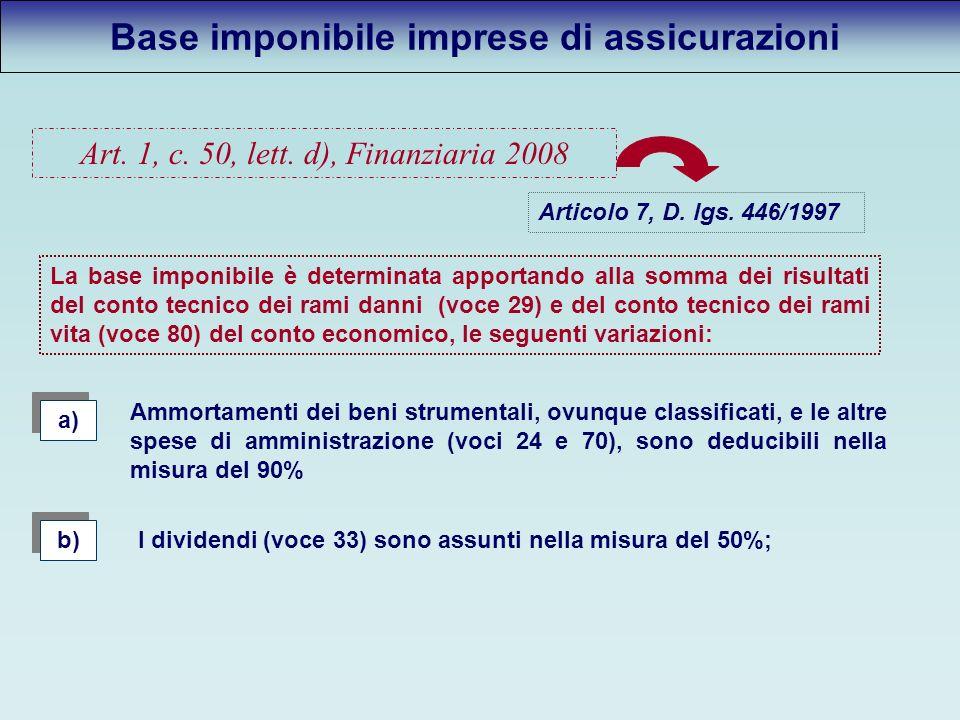 Base imponibile imprese di assicurazioni Art. 1, c.