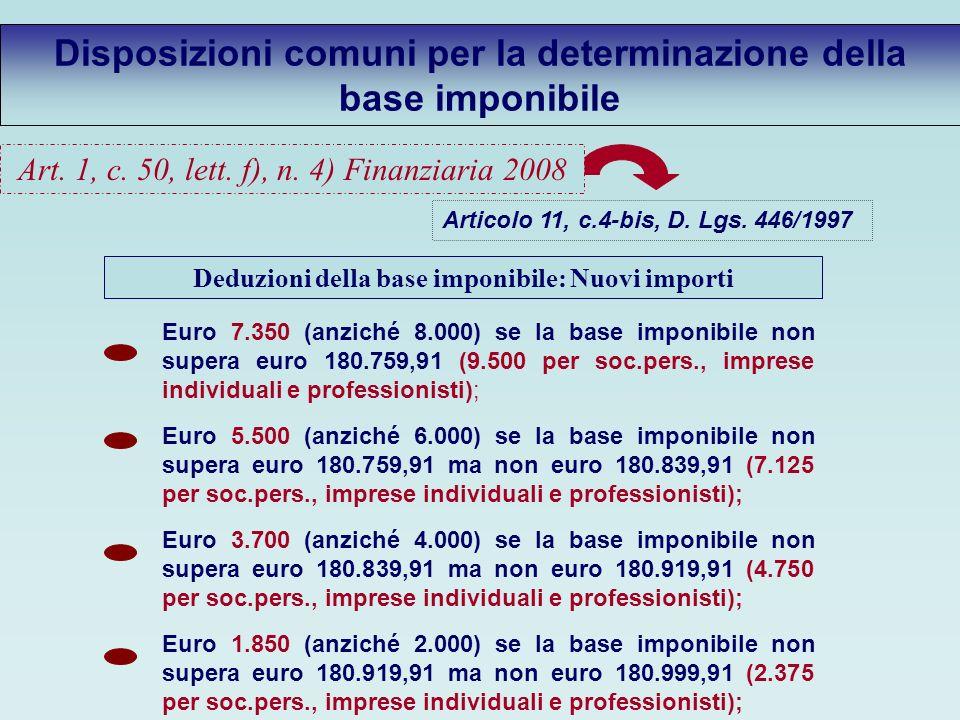 Disposizioni comuni per la determinazione della base imponibile Articolo 11, c.4-bis, D.