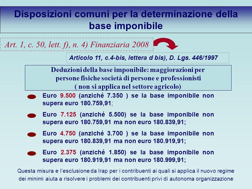 Disposizioni comuni per la determinazione della base imponibile Articolo 11, c.4-bis, lettera d bis), D.