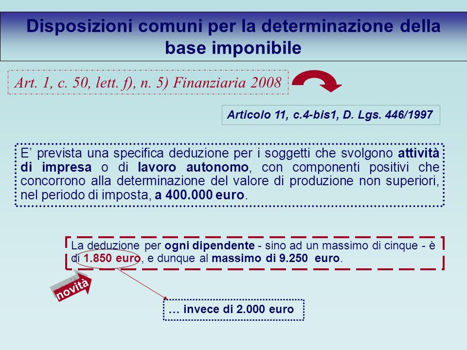 Disposizioni comuni per la determinazione della base imponibile Articolo 11, c.4-bis1, D.
