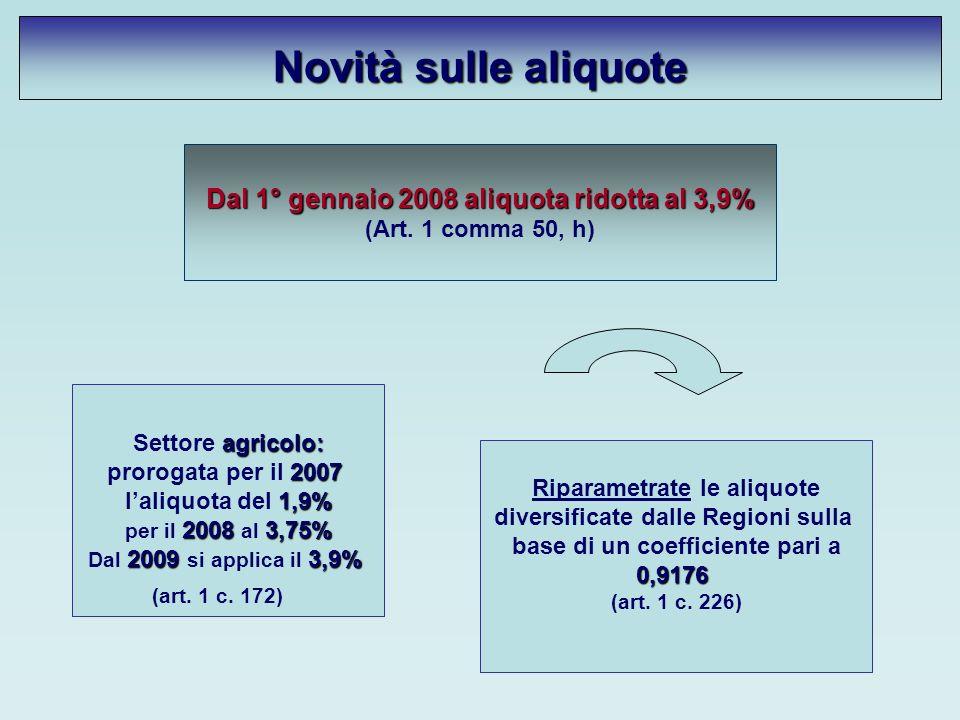 Novità sulle aliquote Dal 1° gennaio 2008 aliquota ridotta al 3,9% (Art.