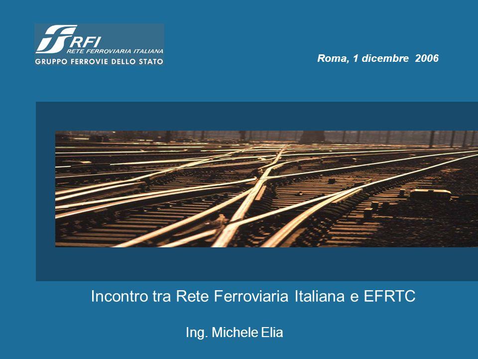 Roma, 1 dicembre 2006 Incontro tra Rete Ferroviaria Italiana e EFRTC Ing. Michele Elia