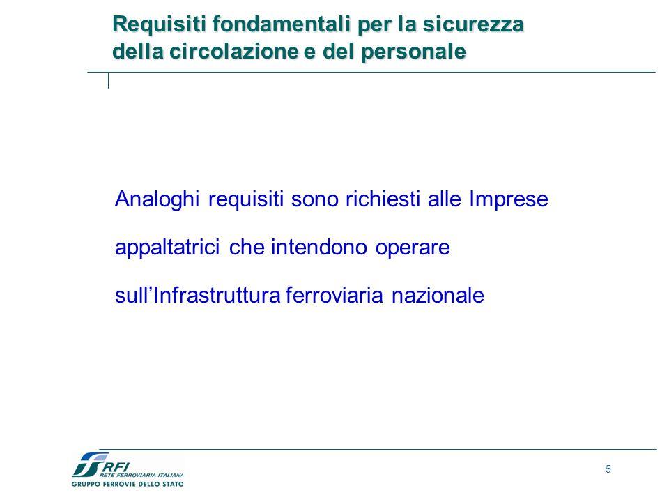 5 Analoghi requisiti sono richiesti alle Imprese appaltatrici che intendono operare sullInfrastruttura ferroviaria nazionale Requisiti fondamentali per la sicurezza della circolazione e del personale