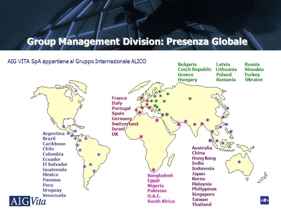 2 Group Management Division: Presenza Globale Argentina Brazil Caribbean Chile Colombia Ecuador El Salvador Guatemala Mexico Panama Peru Uruguay Venez