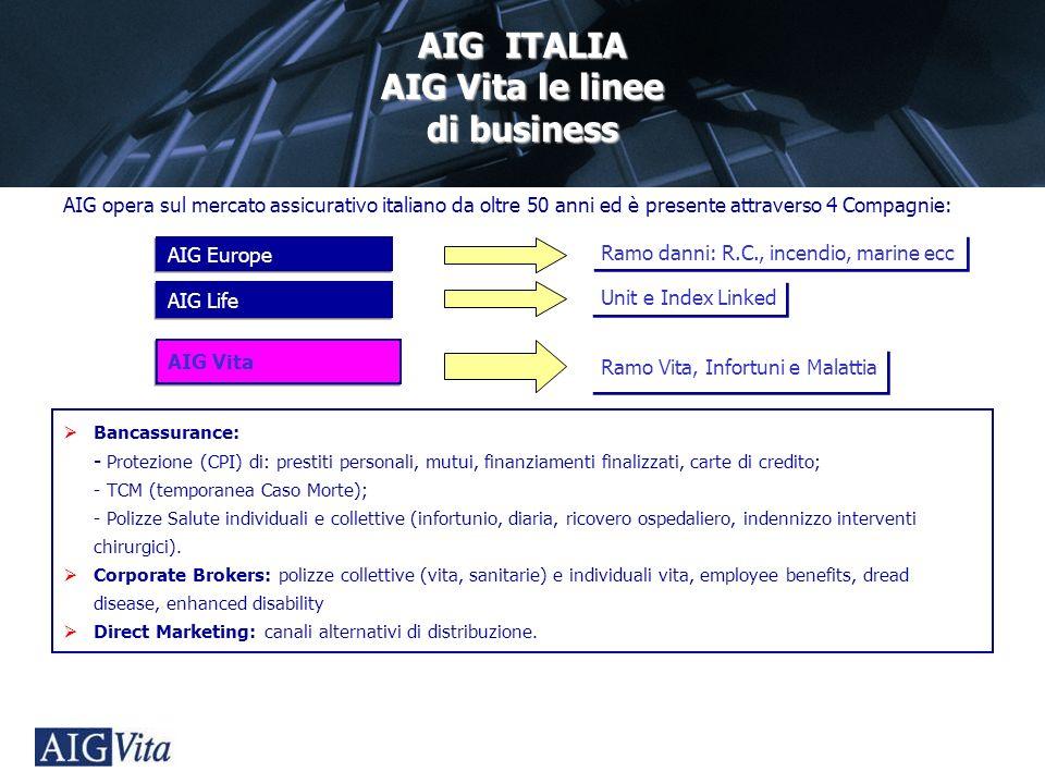 AIG Group Management Division AIG ITALIA AIG Vita le linee di business AIG opera sul mercato assicurativo italiano da oltre 50 anni ed è presente attr