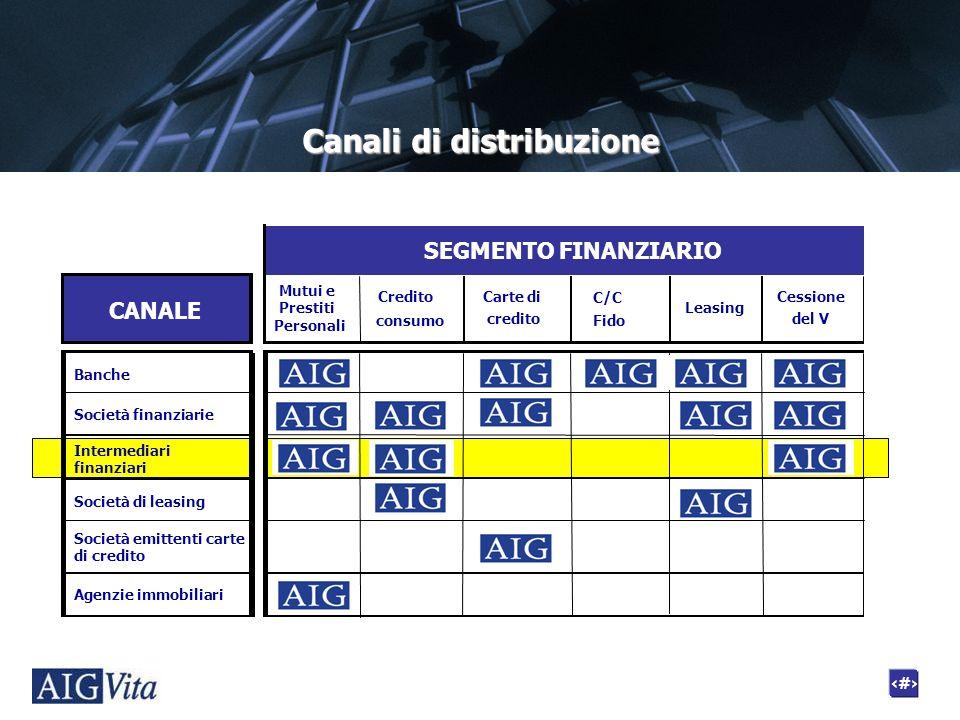 4 Canali di distribuzione CANALE Credito consumo Carte di credito Leasing C/C Fido Cessione del V Banche Società finanziarie AIG Intermediari finanzia