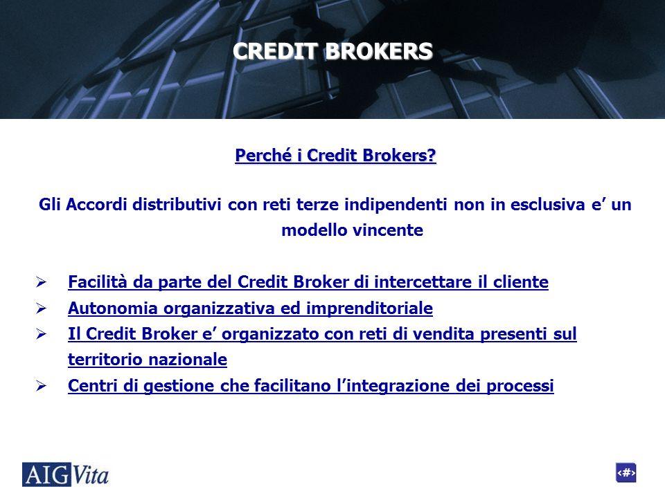 6 CREDIT BROKERS Perché i Credit Brokers? Gli Accordi distributivi con reti terze indipendenti non in esclusiva e un modello vincente Facilità da part
