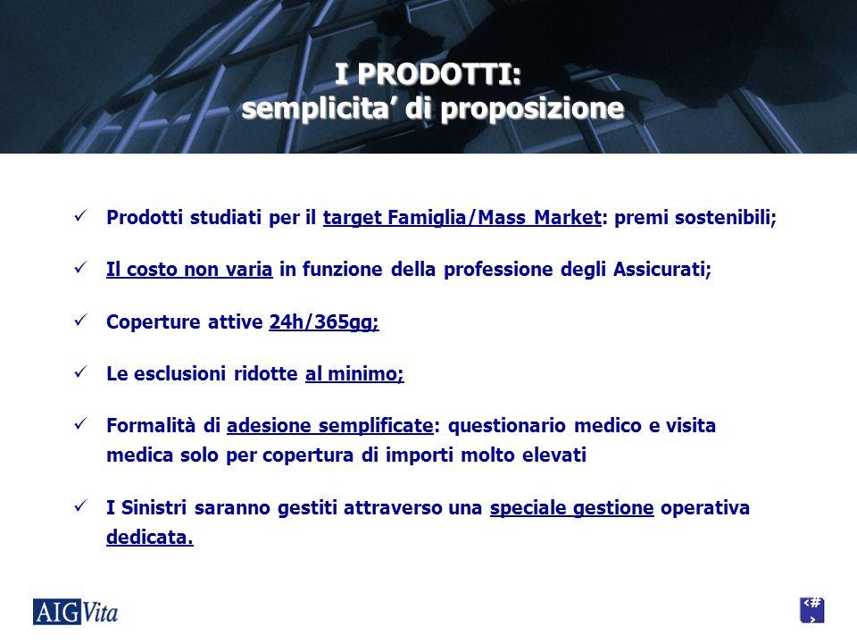 8 I PRODOTTI: semplicita di proposizione Prodotti studiati per il target Famiglia/Mass Market: premi sostenibili; Il costo non varia in funzione della