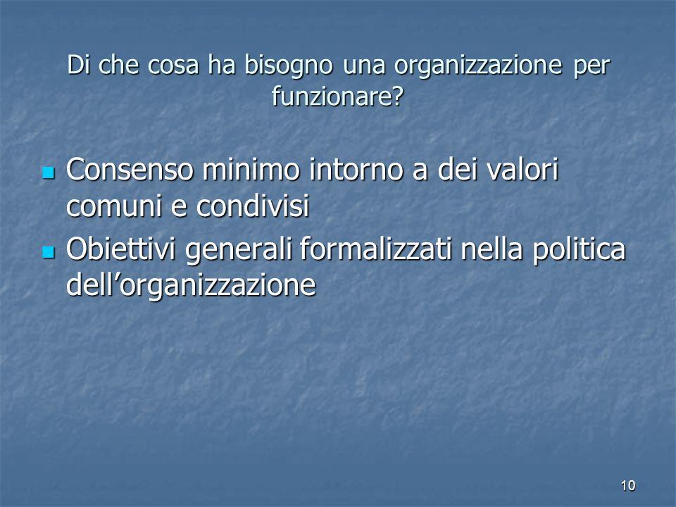 10 Di che cosa ha bisogno una organizzazione per funzionare? Consenso minimo intorno a dei valori comuni e condivisi Consenso minimo intorno a dei val
