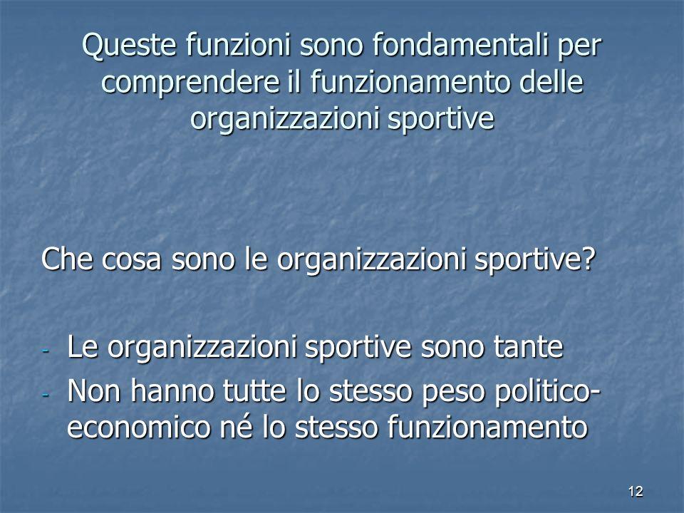 12 Queste funzioni sono fondamentali per comprendere il funzionamento delle organizzazioni sportive Che cosa sono le organizzazioni sportive? - Le org