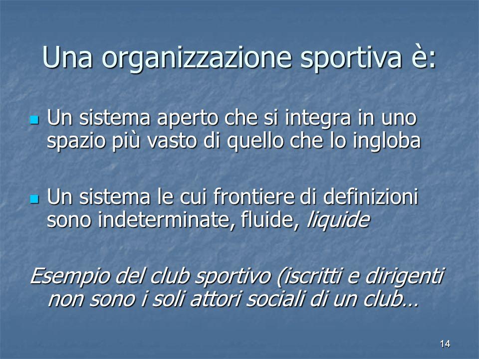 14 Una organizzazione sportiva è: Un sistema aperto che si integra in uno spazio più vasto di quello che lo ingloba Un sistema aperto che si integra i