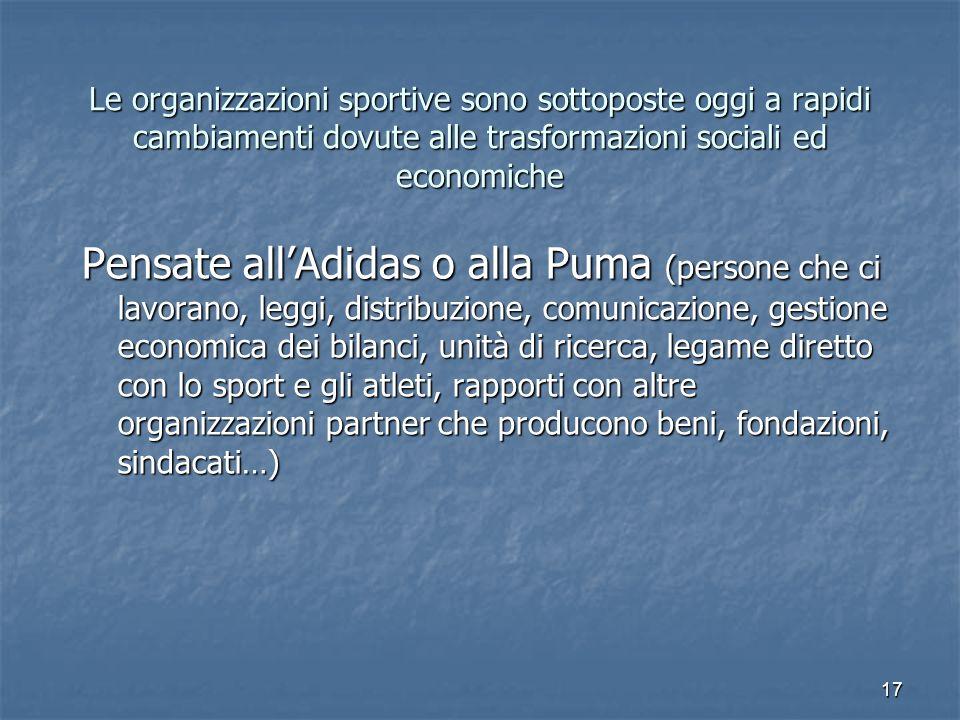 17 Le organizzazioni sportive sono sottoposte oggi a rapidi cambiamenti dovute alle trasformazioni sociali ed economiche Pensate allAdidas o alla Puma