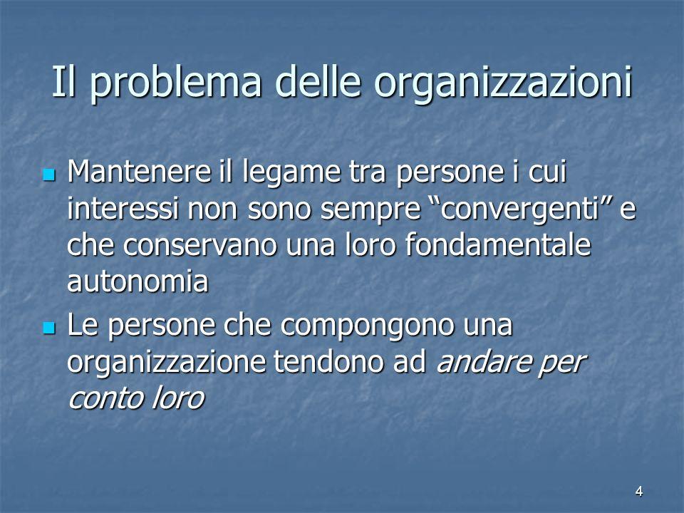 4 Il problema delle organizzazioni Mantenere il legame tra persone i cui interessi non sono sempre convergenti e che conservano una loro fondamentale