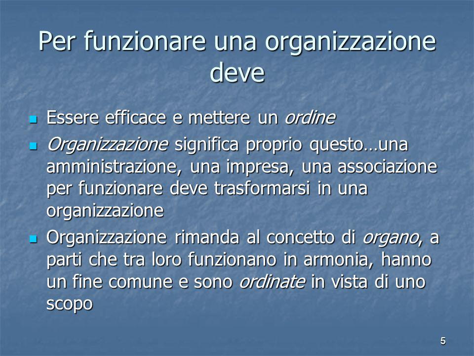 5 Per funzionare una organizzazione deve Essere efficace e mettere un ordine Essere efficace e mettere un ordine Organizzazione significa proprio ques