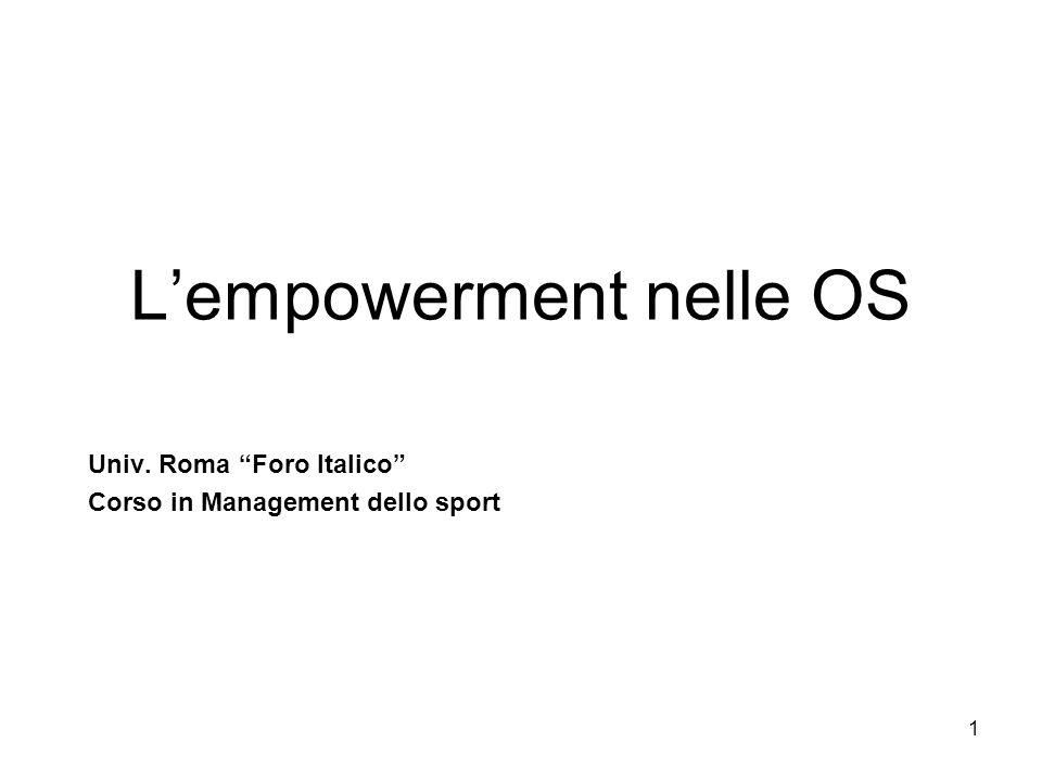 1 Lempowerment nelle OS Univ. Roma Foro Italico Corso in Management dello sport