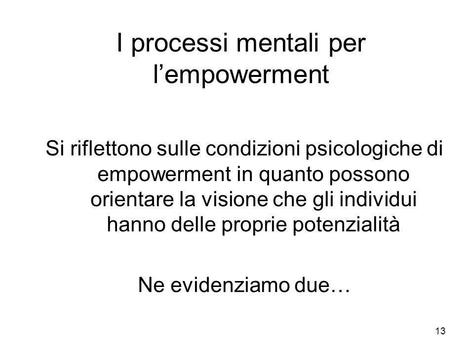 13 I processi mentali per lempowerment Si riflettono sulle condizioni psicologiche di empowerment in quanto possono orientare la visione che gli individui hanno delle proprie potenzialità Ne evidenziamo due…