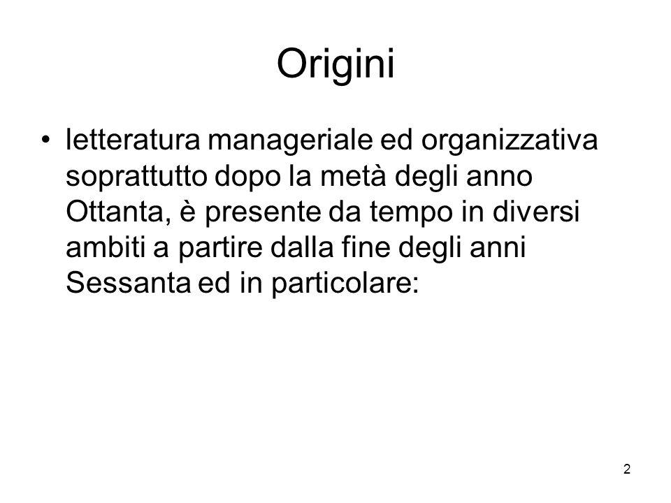 2 Origini letteratura manageriale ed organizzativa soprattutto dopo la metà degli anno Ottanta, è presente da tempo in diversi ambiti a partire dalla fine degli anni Sessanta ed in particolare: