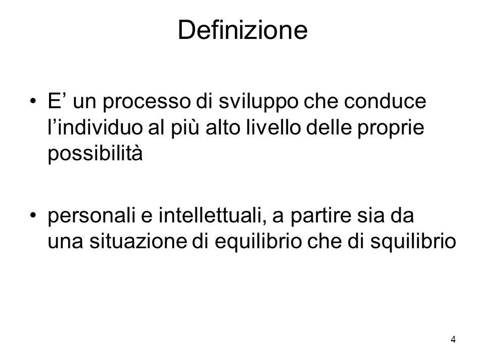 4 Definizione E un processo di sviluppo che conduce lindividuo al più alto livello delle proprie possibilità personali e intellettuali, a partire sia da una situazione di equilibrio che di squilibrio
