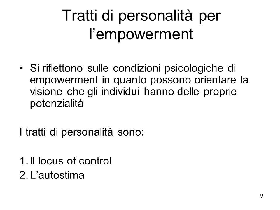 9 Tratti di personalità per lempowerment Si riflettono sulle condizioni psicologiche di empowerment in quanto possono orientare la visione che gli individui hanno delle proprie potenzialità I tratti di personalità sono: 1.Il locus of control 2.Lautostima