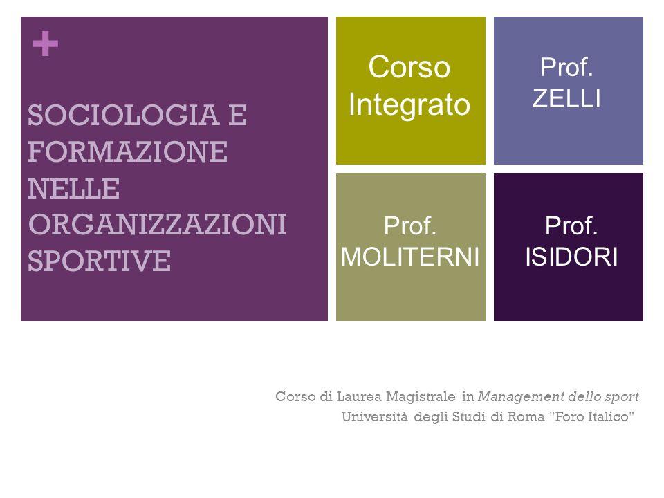 + SOCIOLOGIA E FORMAZIONE NELLE ORGANIZZAZIONI SPORTIVE Corso di Laurea Magistrale in Management dello sport Università degli Studi di Roma