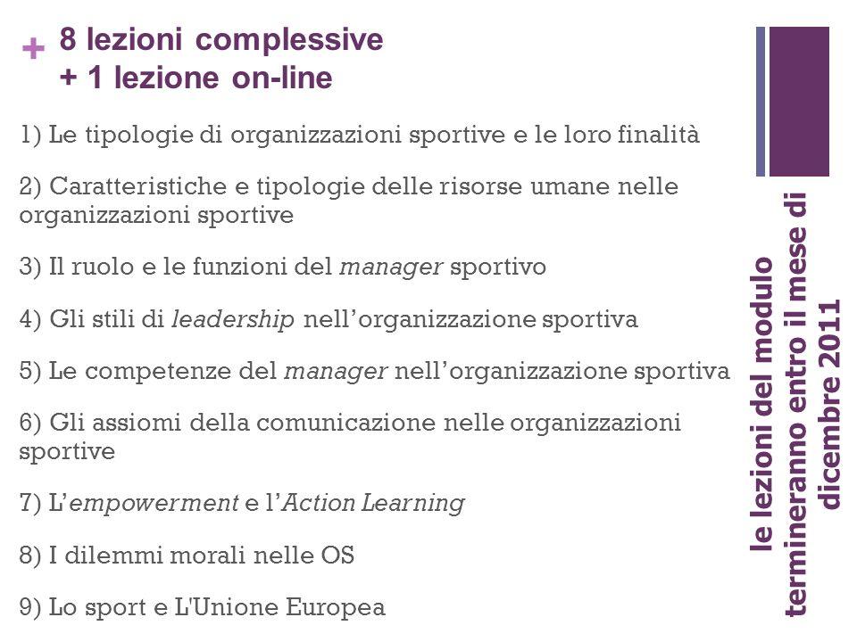 + 8 lezioni complessive + 1 lezione on-line 1) Le tipologie di organizzazioni sportive e le loro finalità 2) Caratteristiche e tipologie delle risorse