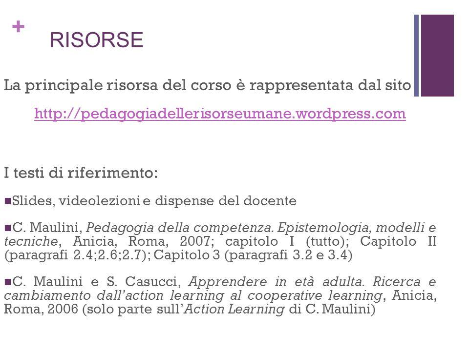 + RISORSE La principale risorsa del corso è rappresentata dal sito http://pedagogiadellerisorseumane.wordpress.com I testi di riferimento: Slides, vid
