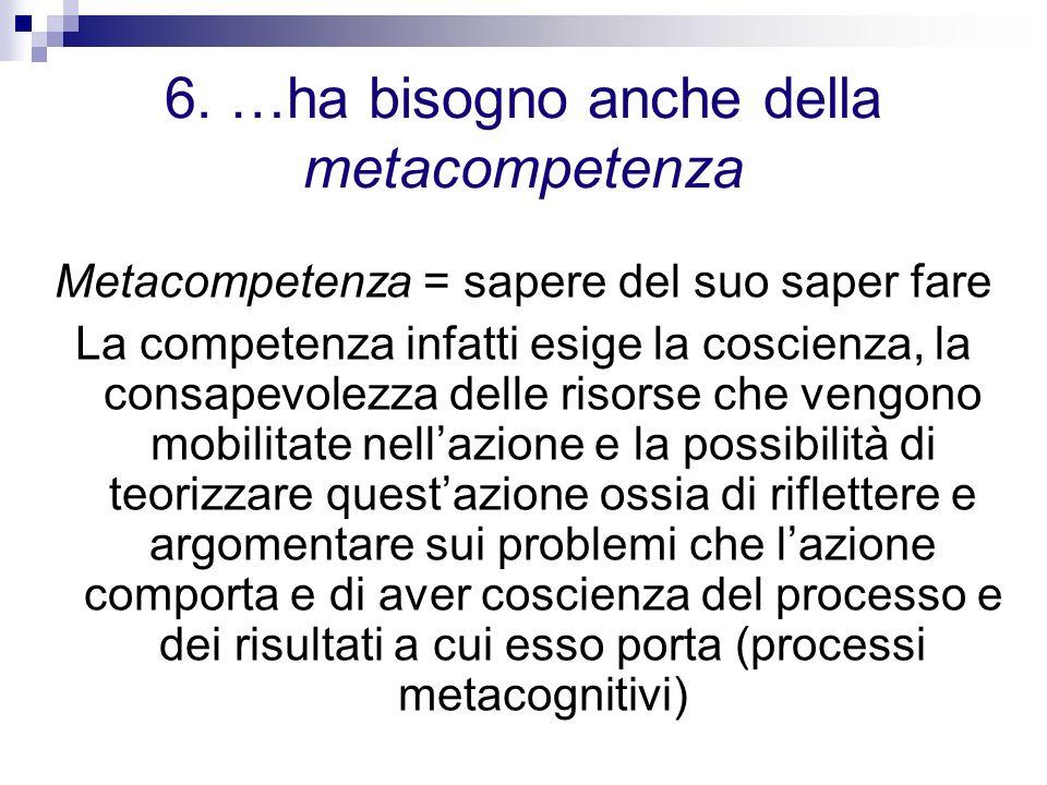 6. …ha bisogno anche della metacompetenza Metacompetenza = sapere del suo saper fare La competenza infatti esige la coscienza, la consapevolezza delle