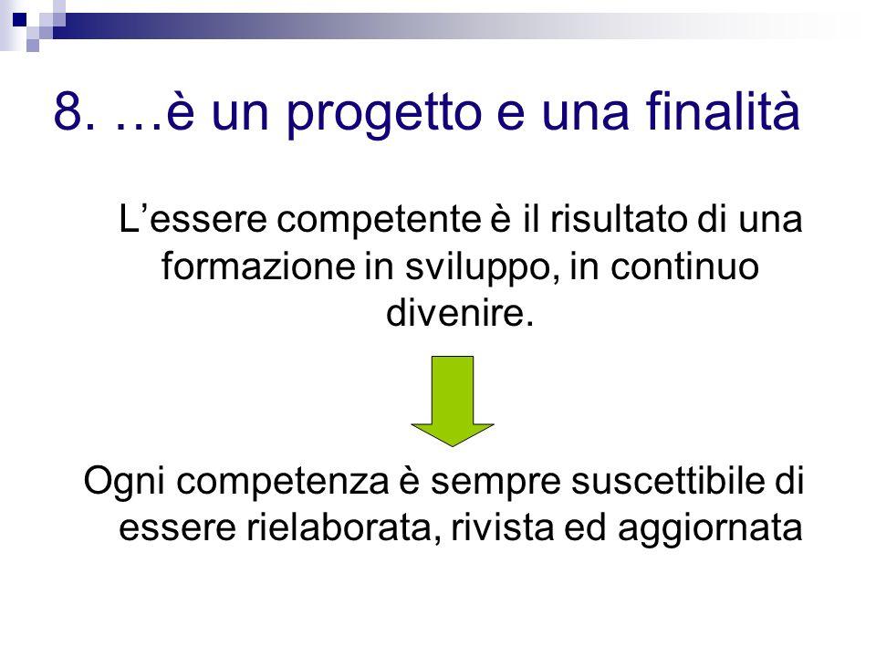 8. …è un progetto e una finalità Lessere competente è il risultato di una formazione in sviluppo, in continuo divenire. Ogni competenza è sempre susce