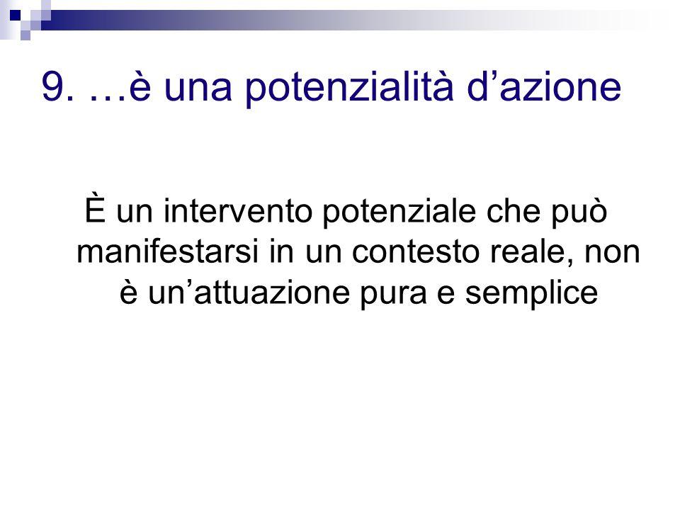 9. …è una potenzialità dazione È un intervento potenziale che può manifestarsi in un contesto reale, non è unattuazione pura e semplice