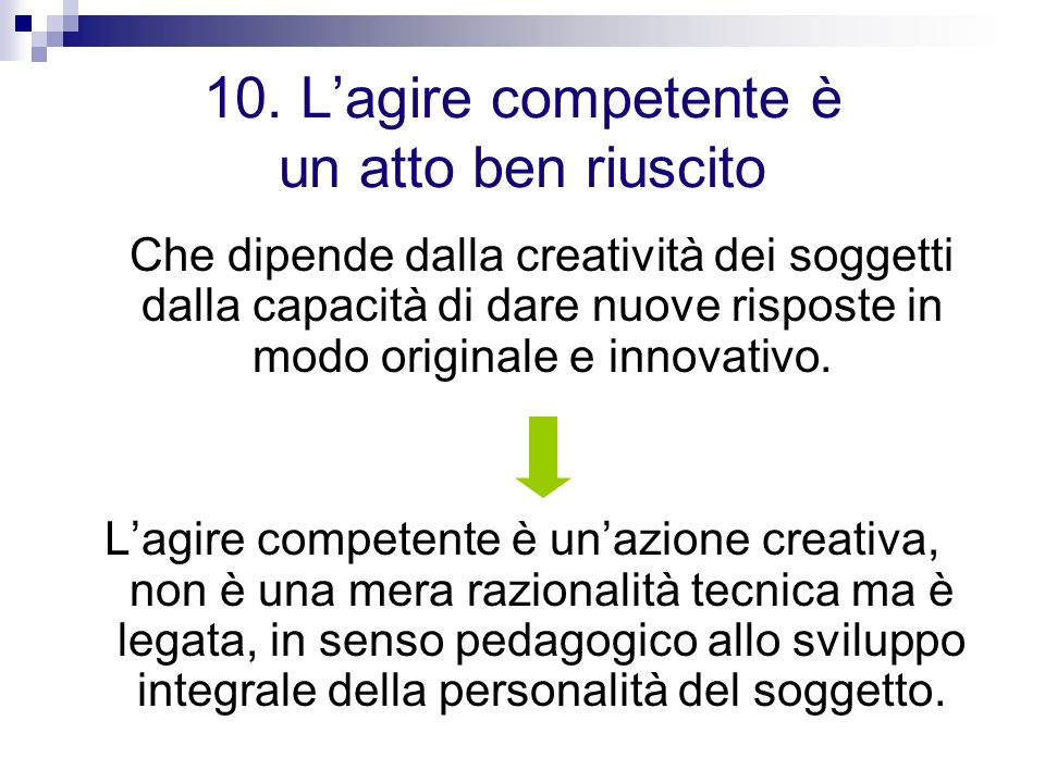 10. Lagire competente è un atto ben riuscito Che dipende dalla creatività dei soggetti dalla capacità di dare nuove risposte in modo originale e innov