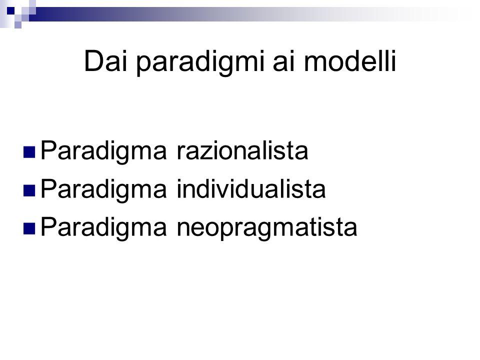 Paradigma razionalista La competenza viene oggettivata materializzandola attraverso tentativi di identificazione e normalizzazione, spiegandone il significato attraverso una sequenza logica di azioni che è possibile controllare (perfomance).