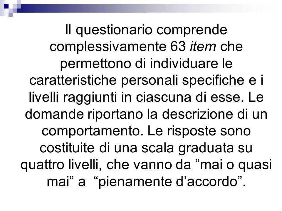 Il questionario comprende complessivamente 63 item che permettono di individuare le caratteristiche personali specifiche e i livelli raggiunti in cias