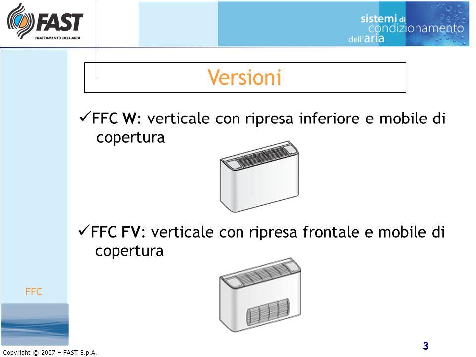 3 Copyright © 2007 – FAST S.p.A. Versioni FFC W: verticale con ripresa inferiore e mobile di copertura FFC FV: verticale con ripresa frontale e mobile