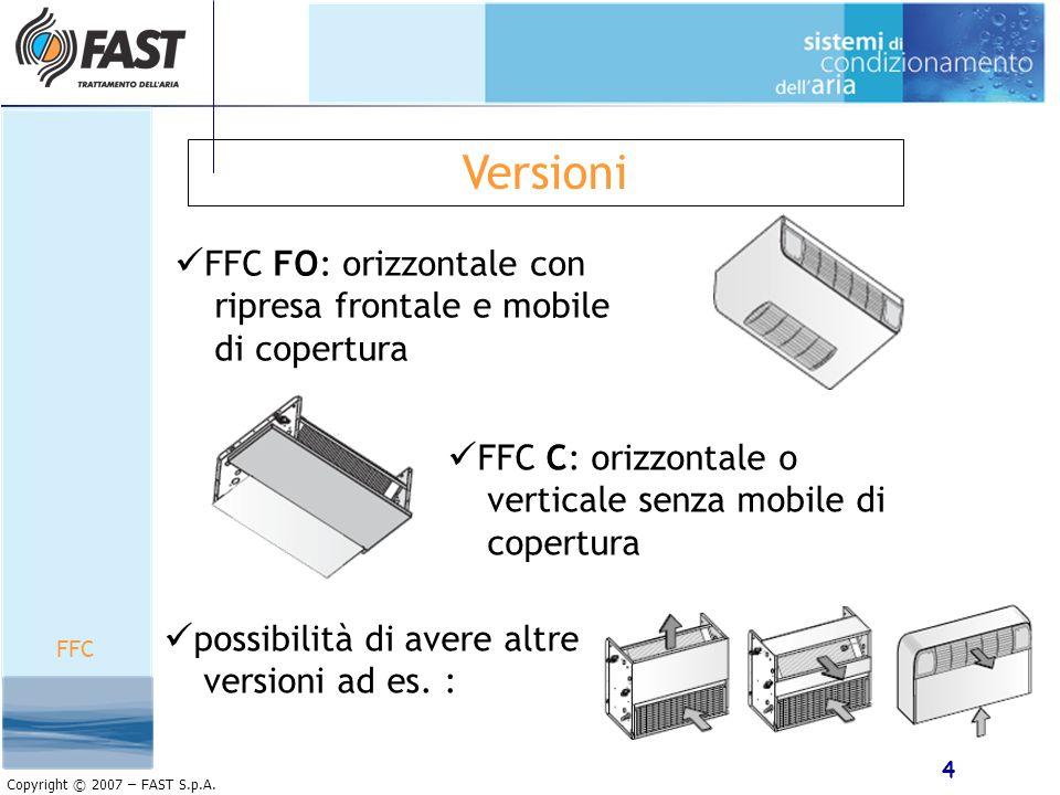 4 Copyright © 2007 – FAST S.p.A. Versioni FFC FO: orizzontale con ripresa frontale e mobile di copertura FFC C: orizzontale o verticale senza mobile d