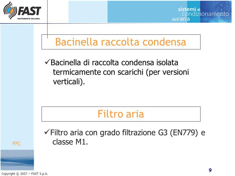 9 Copyright © 2007 – FAST S.p.A. Bacinella raccolta condensa Bacinella di raccolta condensa isolata termicamente con scarichi (per versioni verticali)