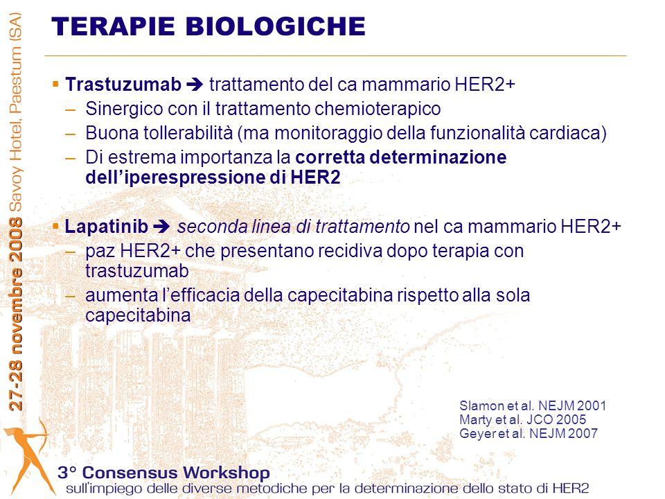 Trastuzumab trattamento del ca mammario HER2+ –Sinergico con il trattamento chemioterapico –Buona tollerabilità (ma monitoraggio della funzionalità cardiaca) –Di estrema importanza la corretta determinazione delliperespressione di HER2 Lapatinib seconda linea di trattamento nel ca mammario HER2+ –paz HER2+ che presentano recidiva dopo terapia con trastuzumab –aumenta lefficacia della capecitabina rispetto alla sola capecitabina TERAPIE BIOLOGICHE Slamon et al.