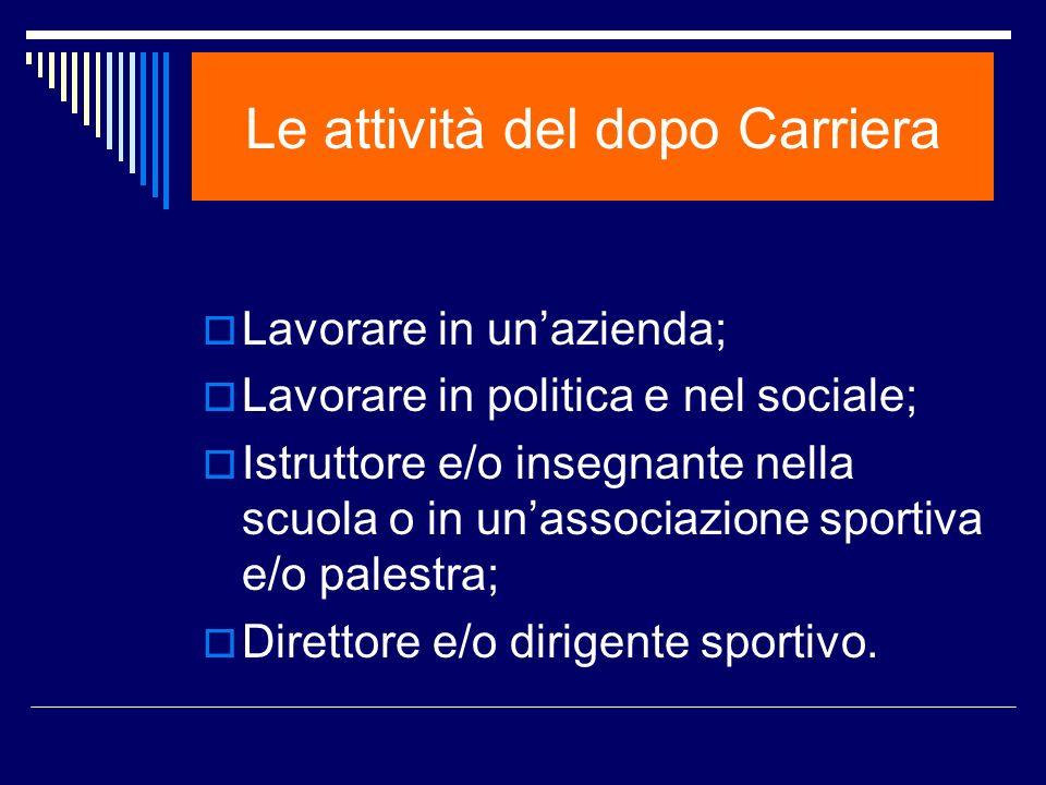 Le attività del dopo Carriera Lavorare in unazienda; Lavorare in politica e nel sociale; Istruttore e/o insegnante nella scuola o in unassociazione sp