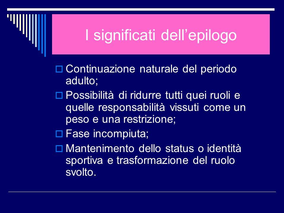 I significati dellepilogo Continuazione naturale del periodo adulto; Possibilità di ridurre tutti quei ruoli e quelle responsabilità vissuti come un p