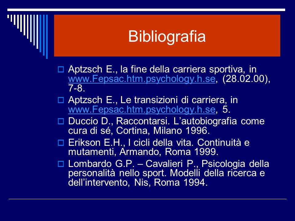 Bibliografia Aptzsch E., la fine della carriera sportiva, in www.Fepsac.htm.psychology.h.se, (28.02.00), 7-8. www.Fepsac.htm.psychology.h.se Aptzsch E