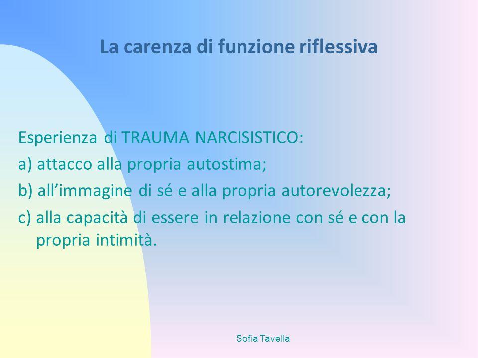 Sofia Tavella La carenza di funzione riflessiva Esperienza di TRAUMA NARCISISTICO: a) attacco alla propria autostima; b) allimmagine di sé e alla prop