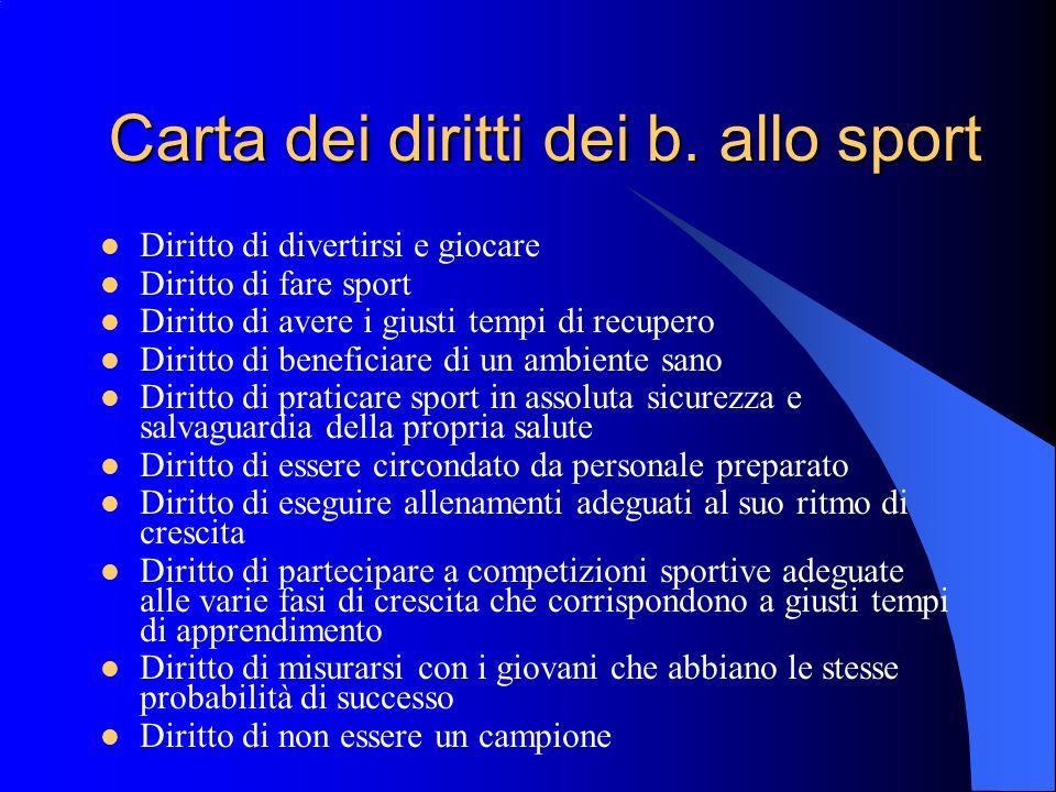 Carta dei diritti dei b. allo sport Diritto di divertirsi e giocare Diritto di fare sport Diritto di avere i giusti tempi di recupero Diritto di benef