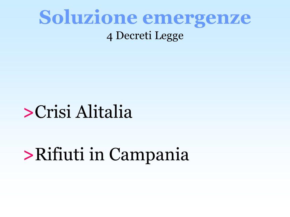 >Crisi Alitalia >Rifiuti in Campania Soluzione emergenze 4 Decreti Legge